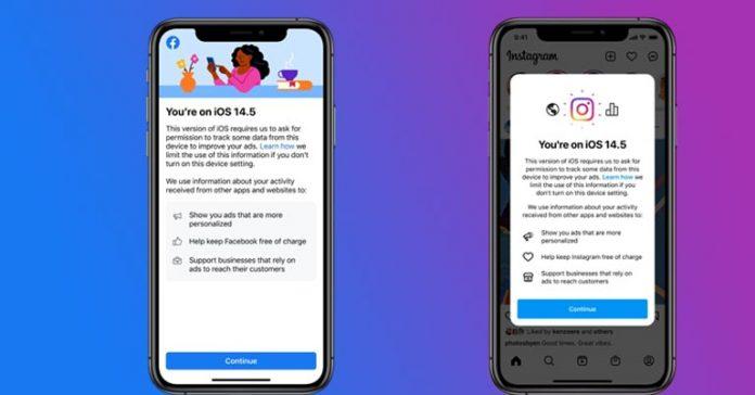 Facebook and Instagram iOS app data tracking 14.5
