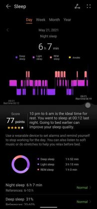 Huawei Health - Daily Sleep Record