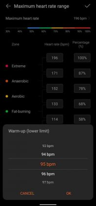 Huawei Health - Heart Rate Range