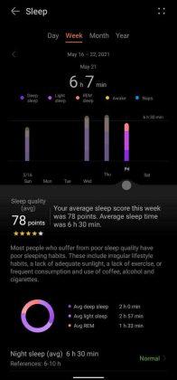 Huawei Health - Weekly Sleep Record
