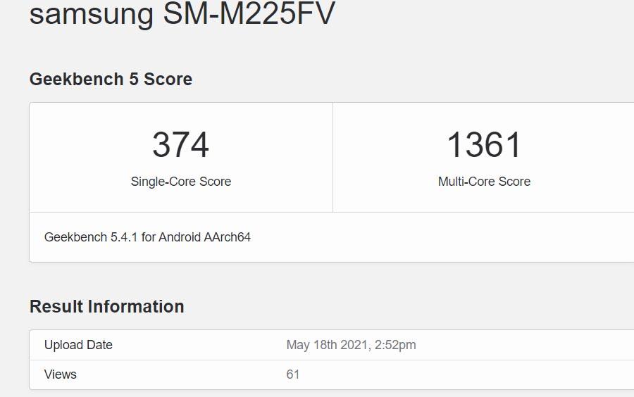 Samsung Galaxy M22 Geekbench listing