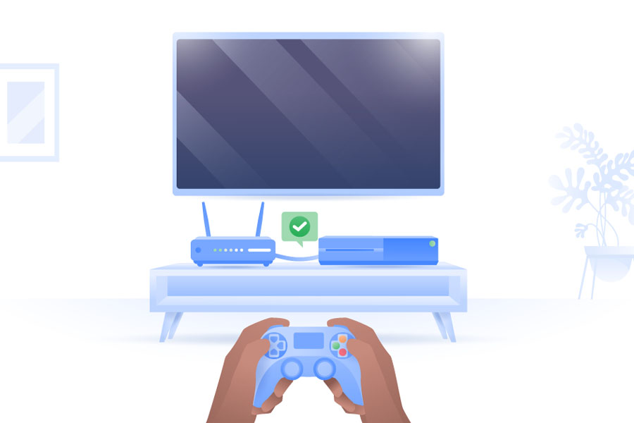 User playing a console game