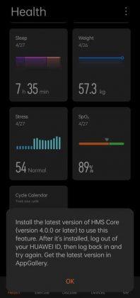 Huawei Health - Menus