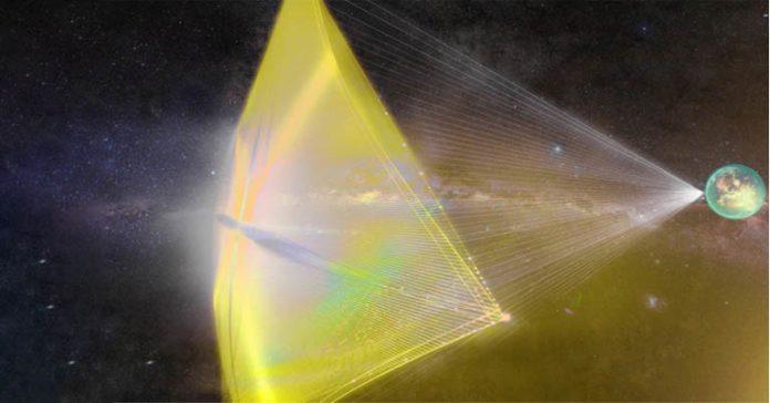 Laser powered sail Alpha Centauri