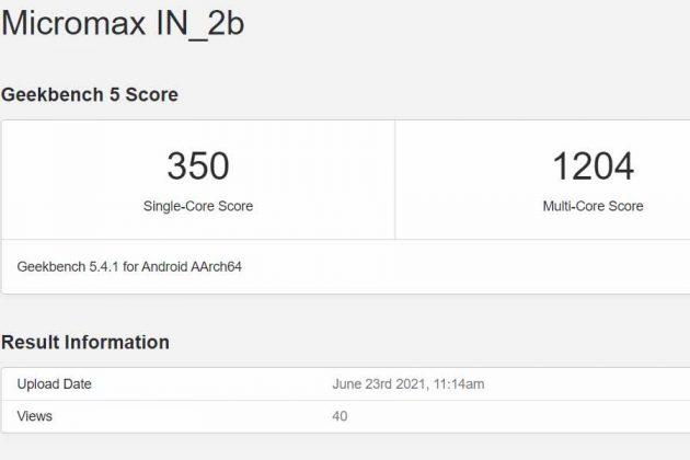 Micromax In 2b Geekbench score