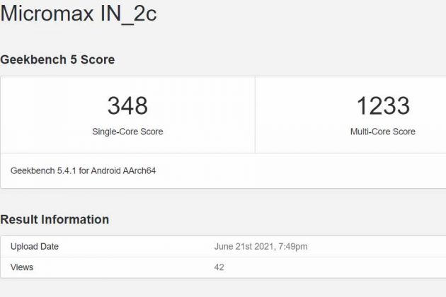 Micromax In 2c Geekbench score
