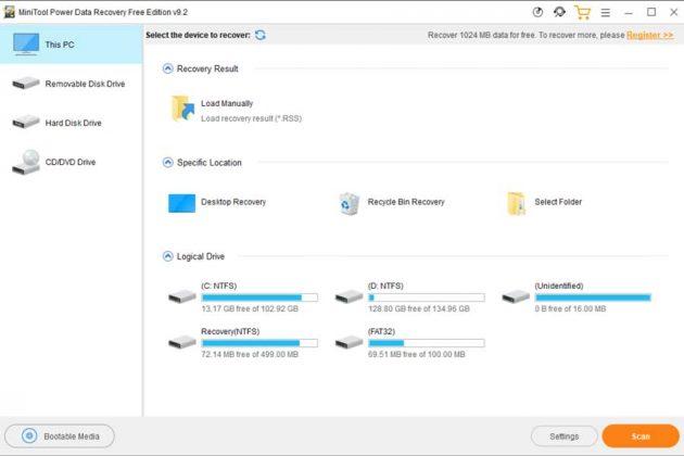 MiniTool Power Data Recovery Tool Home Screen