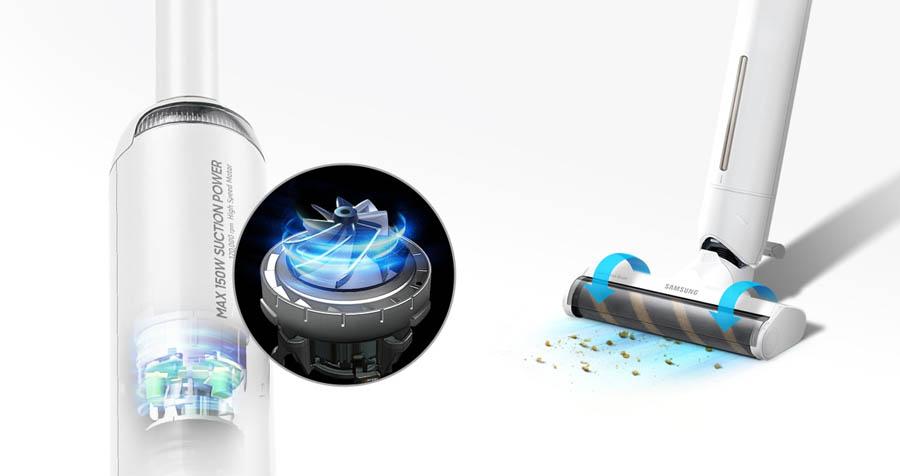 Samsung Bespoke Slim Vacuum Cleaner Motor and Brush