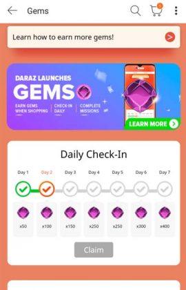 Daraz Gems - Daily Check-In